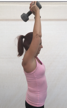 Hold weight with both hands above head